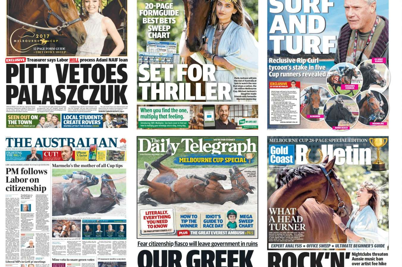 Melbourne cup front page news all over australia the 2017 melbourne cup has dominated the nations newspapers with major publications all over the country putting the great race on their front page falaconquin