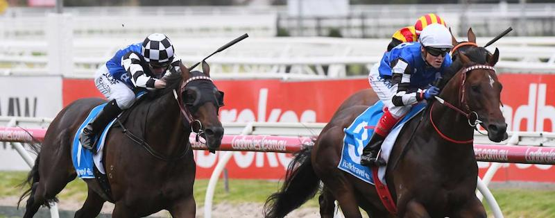 Brave Smash winning the 2018 Futurity Stakes