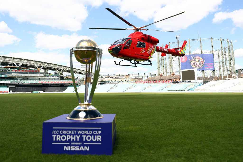 The 2019 ICC Cricket World Cup trophy arrives at The Oval in London