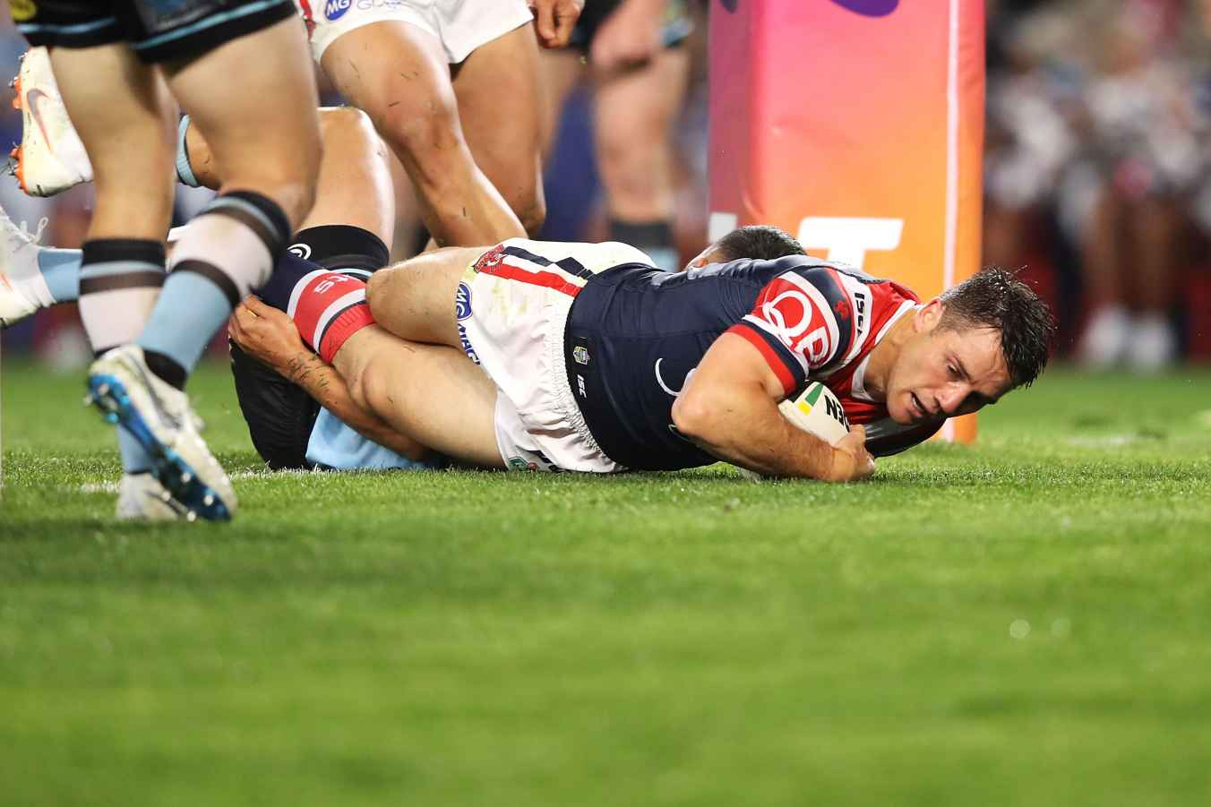 Cooper Cronk of the Roosters scores try during the NRL Qualifying Final match between the Sydney Roosters and the Cronulla Sharks at Allianz Stadium on September 8, 2018 in Sydney, Australia.