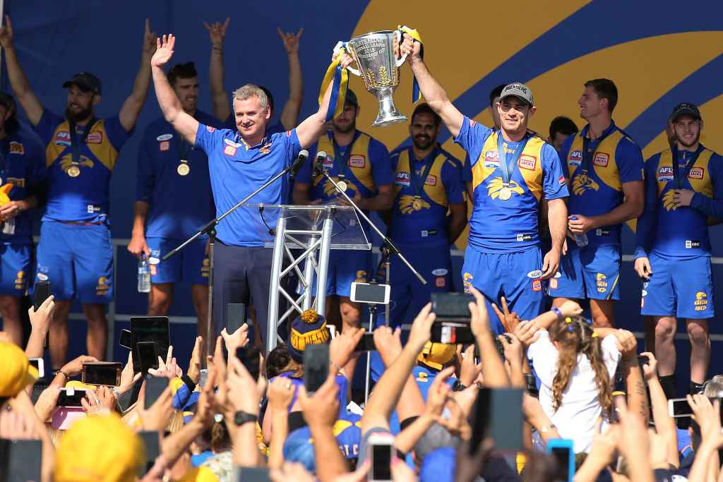 Adam Simpson and Shannon Hurn after winning the 2018 Grand Final