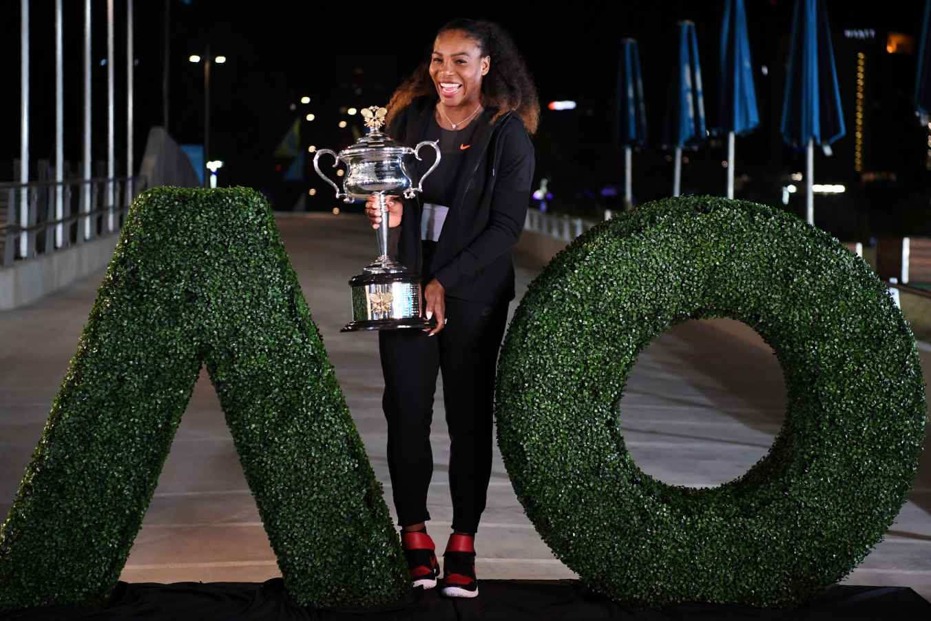 Serena Williams with the 2018 Australian Open trophy