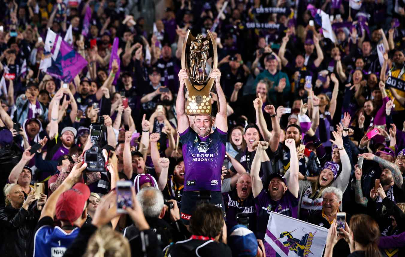 OCTOBER 01: Cameron Smith of the Storm celebrates and holds aloft the NRL Premiership trophy after winning the 2017 NRL Grand Final match between the Melbourne Storm and the North Queensland Cowboys at ANZ Stadium on October 1, 2017 in Sydney, Australia. (Photo by Mark Metcalfe/Getty Images)