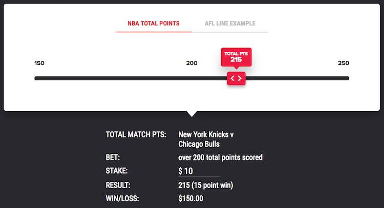 PointsBet - Spread Betting - e.g. NBA Total Points