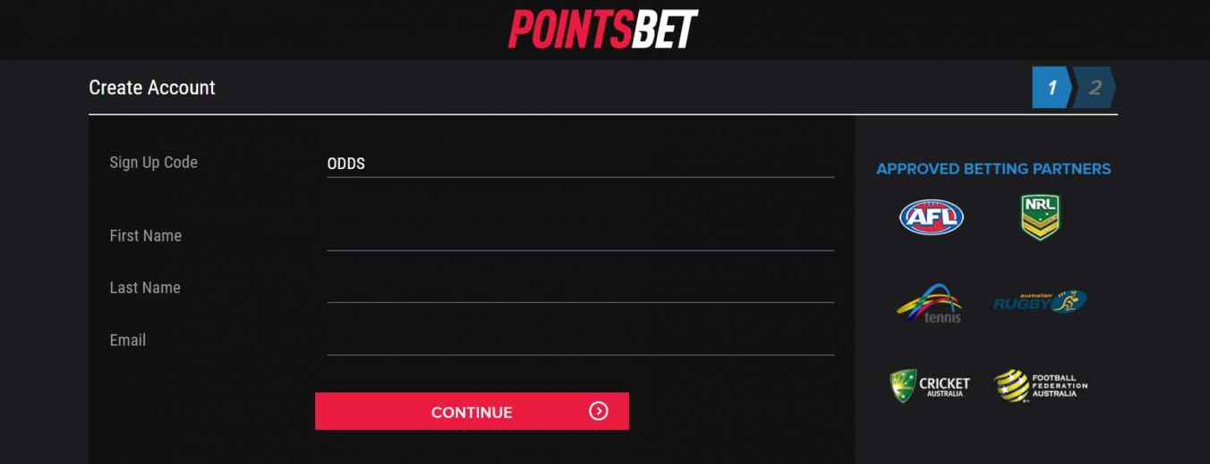Sign up and join PointsBet
