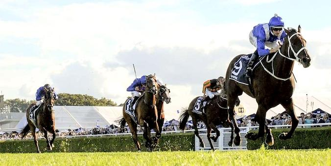 Winx clears out from her rivals in the 2017 Queen Elizabeth Stakes