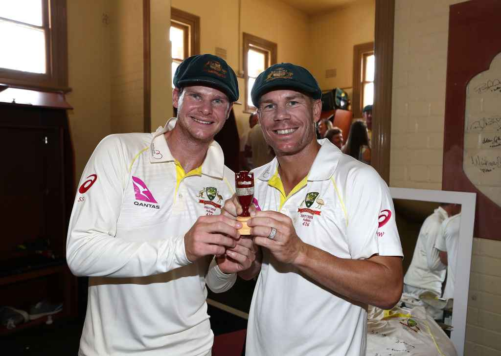 Steve Smith and David Warner celebrate the last Ashes win