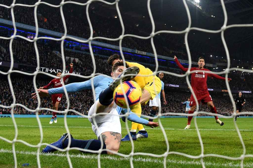 Manchester City's John Stones makes the most important clearance of the season against Liverpool