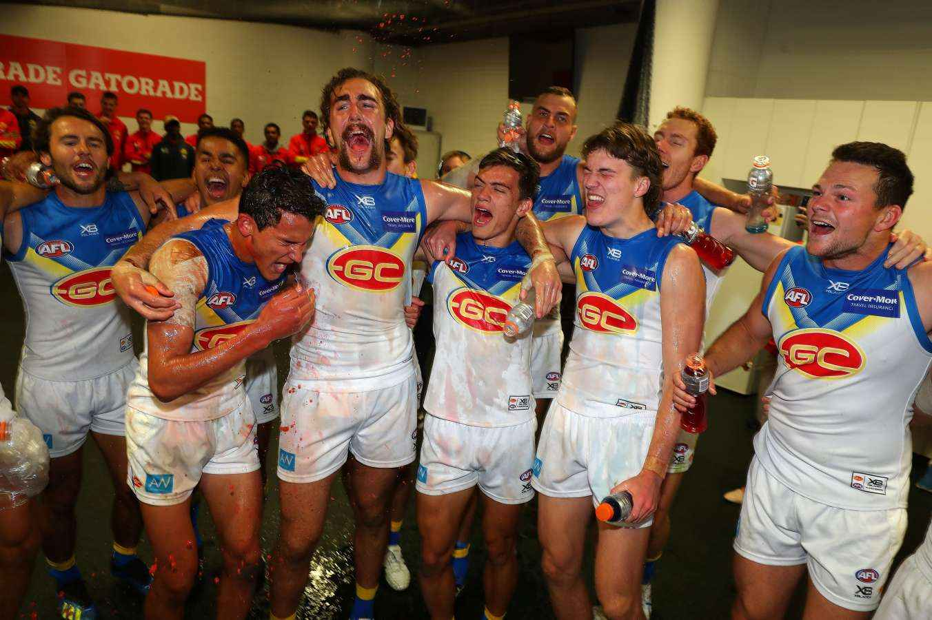 Gold Coast Suns celebrate a famous win in 2018