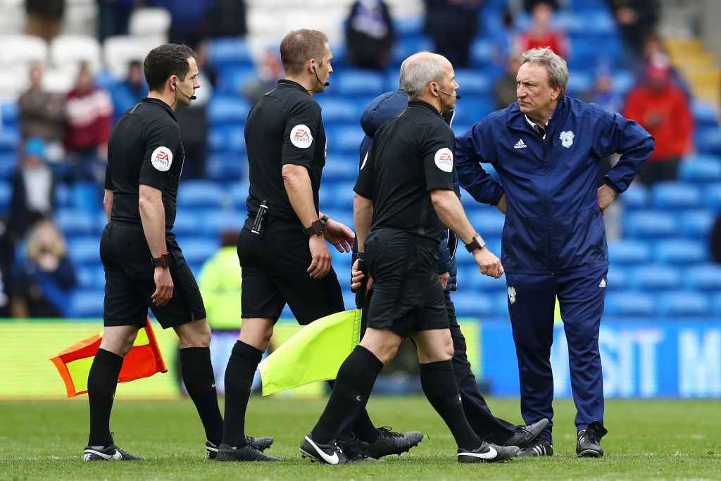 Cardiff City manager Neil Warnock stares at the refs following their loss to Chelsea