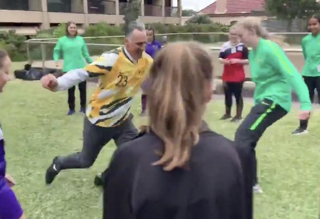 WATCH: Minister for Sport takes tumble in soccer fail