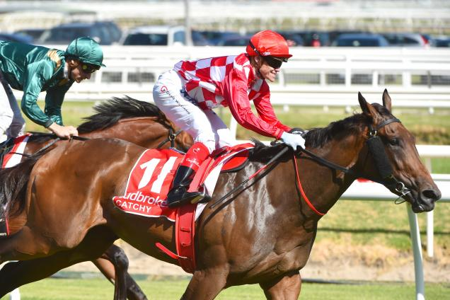 Catchy wins the Blue Diamond Stakes at Caulfield