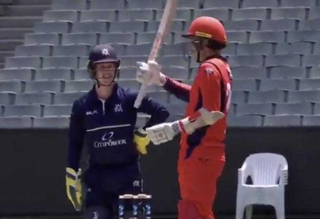WATCH: Tom Cooper delivers after wicketkeeper's on-air dare