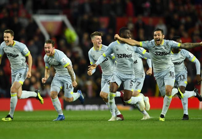 Mourinho's Man United stunned by Lampard's Derby County on penalties