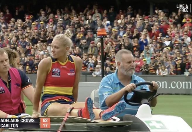 Erin Phillips carted off as Adelaide win AFLW Grand Final