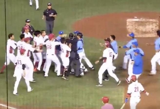 WATCH: Bench-clearing brawl in Chinese Baseball League
