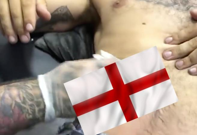 WATCH: England soccer fanatic gets a World Cup Champions tattoo