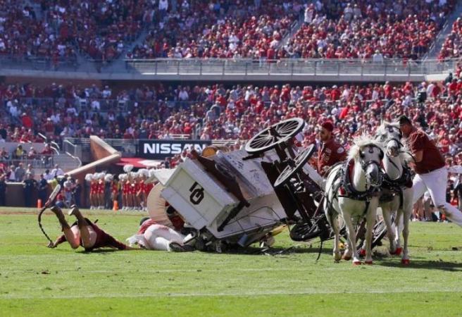 Oklahoma Sooners' mascot wagon crashes on the field
