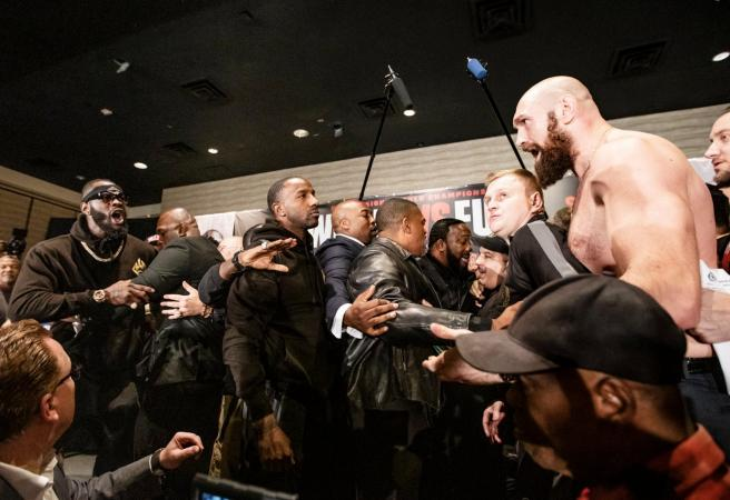 WATCH: Wilder and Fury get physical at press conference