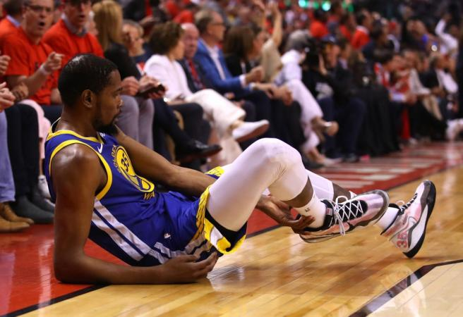 WATCH: Kevin Durant goes down just 12 minutes into return from injury
