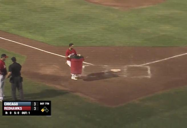 Baseballer takes the trash out in hilarious meltdown