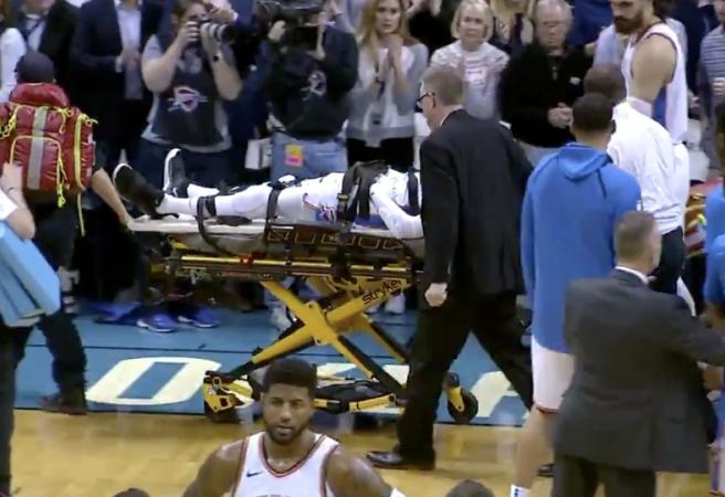 OKC player stretchered off after hard fall