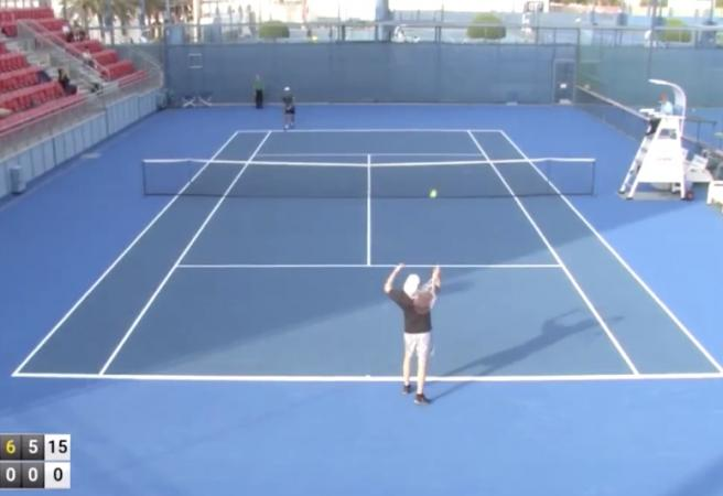 Professional tennis player completes perfect match