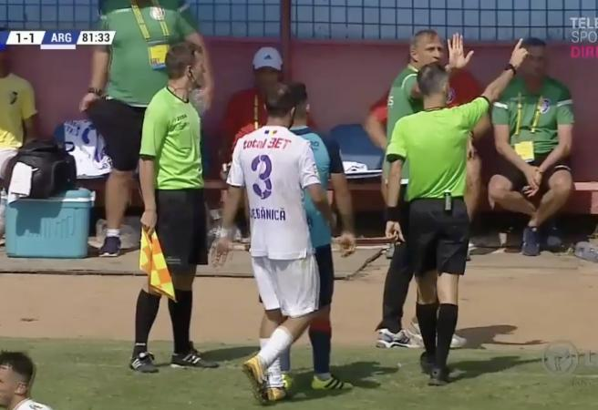 WATCH: Romanian club coach sent off for bizarre act