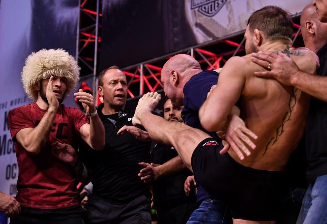 UFC 229: Conor McGregor aims weigh-in kick at Khabib