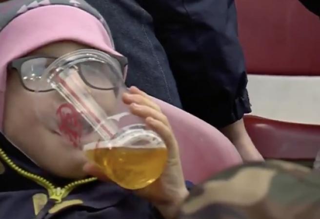 Child allegedly caught drinking beer at Bundesliga match