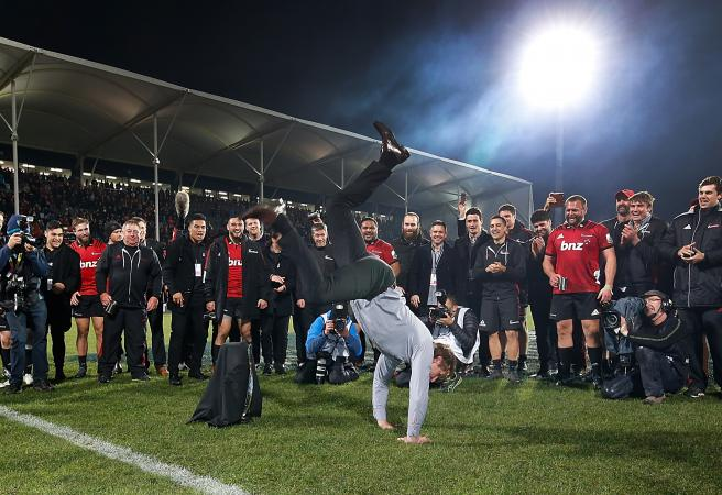 Scott Robertson break dance steals the show as Crusaders win Super Rugby final