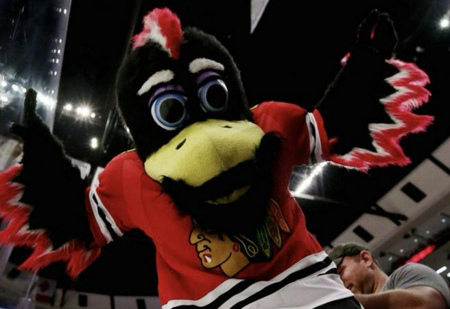 WATCH: NHL mascot takes down opposition fan after being attacked