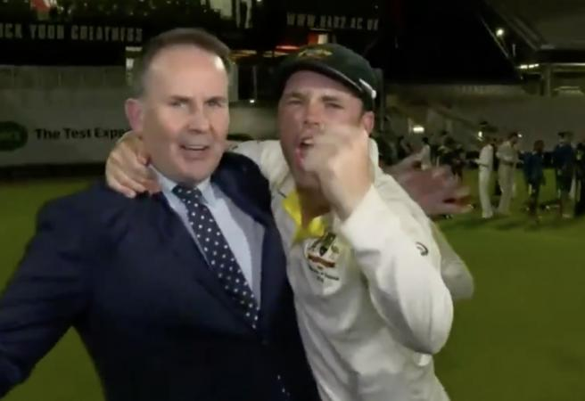 WATCH: Chompers gets caught up in Ashes celebrations