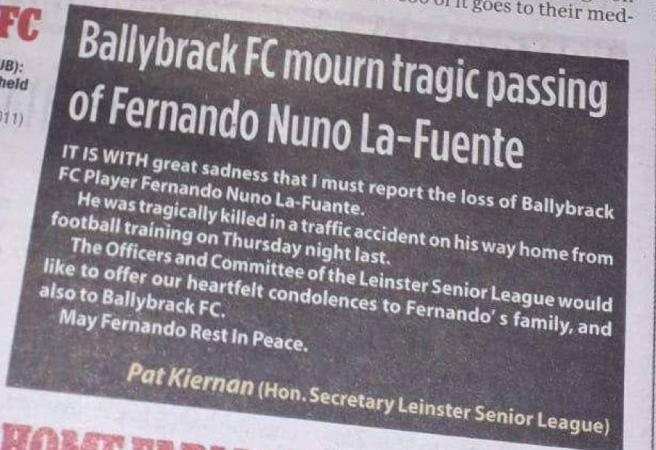Irish soccer team fake a player's death to avoid playing match
