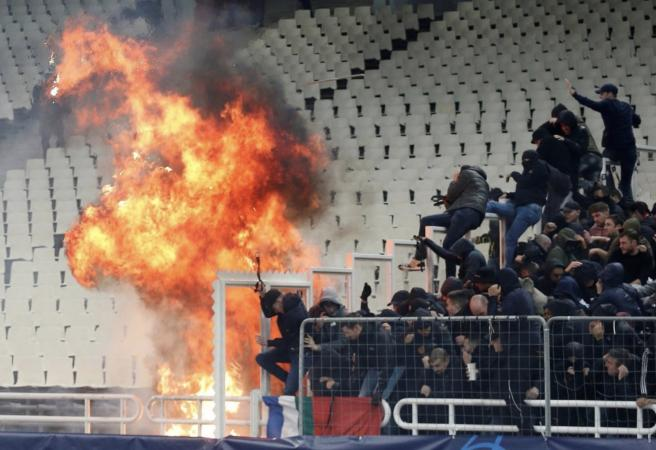 Petrol bomb thrown at Champions League match