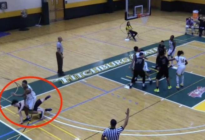 WATCH: Brutal college basketball hit stuns world